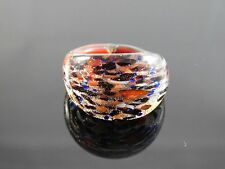 "Lovely Murano Glass Silver Foiled Lampwork Handmade Multicolor Ring US 8.75"""