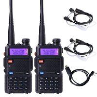 2PCS Baofeng UV-5R VHF UHF Dual Band 128CH FM Two Way Ham Radio+ Earpiece Cable