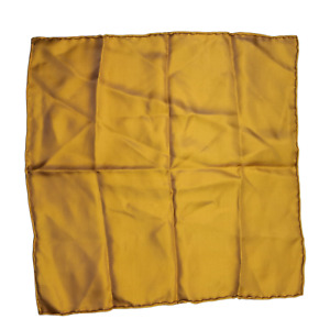 """Silk Mens Pocket Square  Hand Rolled Vintage Yellow Mustard 15"""""""