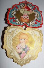 Vtg 1930s Little Girl Boy heart Fancy Children's Valentine's Day Card