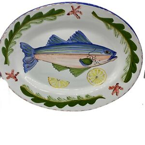 L'Antica Deruta Majilly Fish Platter Hand painted Made In Italy Art Serving Dush