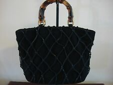 Brizzolari Medium Black Leather Purse Wood Handles Leather Lacing Italy