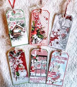 Set of 6 Hang Tags~Christmas Vintage Festive~Gift Tags~Scrapbooks~Card's~#138R
