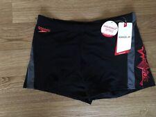 "Speedo Endurance Swimming Aquashort Black 36"" Waist Trunks Shorts Briefs"