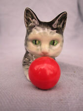 Vintage Goebel Gray Kitten Cat Red Ball China Porcelain Figurine W. Germany