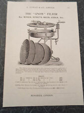 """THE """"GNOM"""" FILTER FOR WINES Etc Image Copy Print Lumley+Co Minories London #415"""