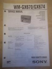 Sony Service Manual~WM-GX670/GX674 Walkman Radio Cassette-Corder~Original~Repair