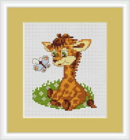 Baby Giraffe and Butterfly Counted Cross Stitch Kit Luca S Beginner B044