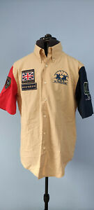 La Martina Mens Varsity Polo Match England Casual Short Sleeve Cotton Shirt XL