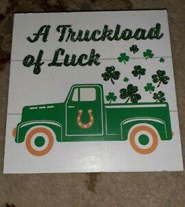 Rustic St. Patricks Day decor green truck wood hanging sign- Shamrock Farmhouse