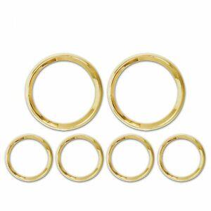 Gold Modern 5, 6 Gauge Trim Ring Set street meter c10 hotrod truck muscle import