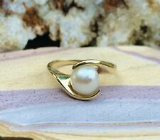Vintage 10K Yellow Gold 10kt Pearl Ring 3.3g Size 8.5