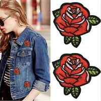2X Red Rose Flower DIY Embroidery Applique Cloth Sewing & Iron on Patch Badge TR