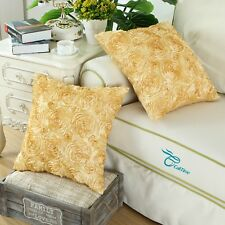 """Set of 2 Cushion Covers Cases Shells Couch Sofa Home Roses Florals Gold 20""""x20"""""""