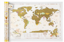 BIG GOLD SCRATCH OFF WORLD MAP WITH TUBE ,  DETAILED LAMINATED POSTER TRAVEL MAP