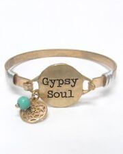 Gypsy Soul Bracelet Hook Closure Charms Burnished Gold Tone ShoppingBuyFaith