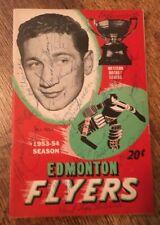 1953-54 Edmonton Flyers Team Signed Game Program Glenn Hall Pre Rookie Auto