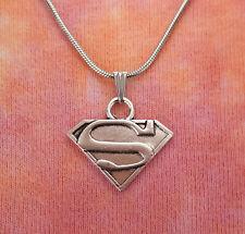 Superman Pendant or Necklace, Super Man Charm Superhero Medallion Superhero Gift