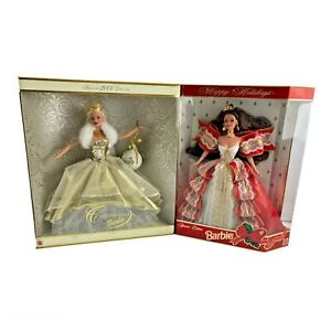 Lot of 2 Happy Holiday's Celebration Barbie Special Collectors Dolls 1997 & 2000