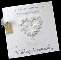 """LARGE 8""""x8"""" Personalised Wedding Anniversary Card 25th,30th,40th,50th,60th ANY"""