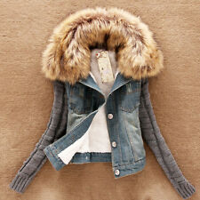 Fashion Womens Casual Winter Coat Fur Collar Slim Knit Sleeve Denim Short Jacket