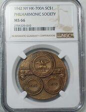 1942 NGC MS 66 NEW YORK PHILHARMONIC Symphony NY HK-700A Mint Bronze Medal Token