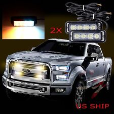 2X 4 LED Car Truck Emergency Beacon Light Bar Hazard Strobe Warning White Amber