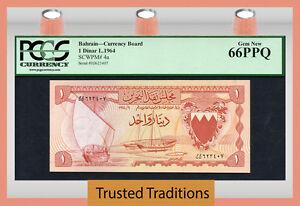 TT PK 4a 1964 BAHRAIN CURRENCY BOARD 1 DINAR PCGS 66 PPQ GEM NONE FINER KNOWN!