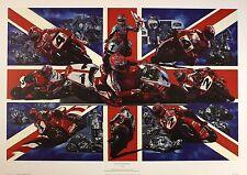 "David Bill ""década dedicación"" británico Moto Racing Tamaño:50 Cm X 76 Cm Raro"