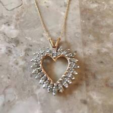 NWT 10KT Yellow Gold Heart Pendant Genuine Diamond 1.0 CT TW 25% Off