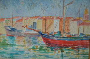 Tableau Aquarelle port méditerranéen signé Renoux 1927 Saint Tropez?