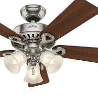 Hunter Fan 44 in Brushed Nickel Ceiling Fan w/ Glass Light Kit & Remote Control