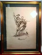 WW1 Antique Military Art Leon Reni Mel America Lithograph Signed 403/500 FRAMED