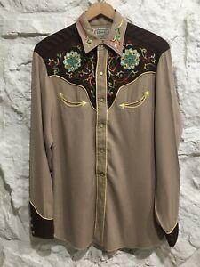 Vintage 50's H Bar C California Ranchwear Western Rhinestone Embroidered Shirt
