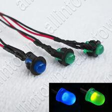 Green Blue 12v LED Pilot Lights Pre-Wired Indicator Warning Dash 5mm Light
