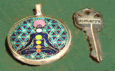 Chakraman  Flower of Life unique pendant handmade w/ Lapis Lazuli gemstone new