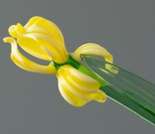 Iris Yellow, Figurine, Blown Glass Art Flower. Made in Russia