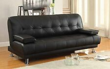 NEW SOFA BED Faux Leather Black Sofa Bed recliner 3 Seater Luxury Modest Design