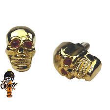 Metall Kennzeichenschrauben Totenkopf Skull gold für Chopper Bobber Cruiser