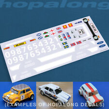 Scalextric/Slot Car 1/32 'Escort RS2000' Waterslide Decals (with white print)
