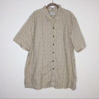 LL Bean Hawaiian Shirt Geo Print Traditional Fit XL Tall XLT Tan Short Sleeve