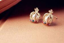 Modeschmuck Ohrringe Ohrstecker Krone mit Perle aus Gold mit Steinen Imitation