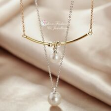 18K White, Rose & Gold Filled Curved Strip Pearl Drop Double Layer Necklace