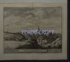 1727 Engraving View of Dunfermline , Scotland -Les Delices de la Grand Bretagne