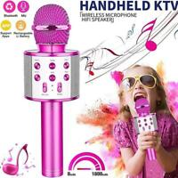 Handheld Wireless Bluetooth Karaoke WS-858 Microphones Player Black MIC USB N9A0