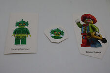 3 LEGO Aufkleber Sticker - Swamp Monster + Circus Clown ( Zirkus Sumpf ) Neu