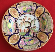 Antique 19th c. Derby Porcelain Imari Plate Willow Tiger Dragon in Compartment