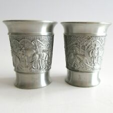 Set of 2 Oriental Pewter Thailand Co. 97% Tin Elephant Shot Glass Cup 2 inch