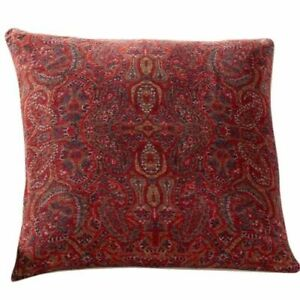 Pottery Barn Lexi Red Paisley Print Pillow Cover 22x22 NEW