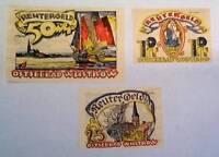 1922 Germany REUTERGELD OSTSEEBAD  set of  10 - 25 - 50 Phennig Notgeld
